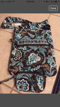 Vera bradley blue and brown hobo bag andcoin purse and wallet
