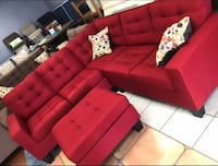 Brand New Red Linen Sectional Sofa Couch + Ottoman Silver Spring, 20902