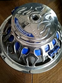 silver and blue subwoofer