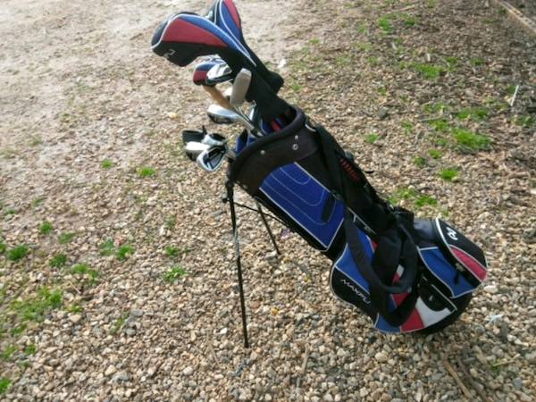Used Blue White And Red Golf Bag And Grey Golf Club For Sale In