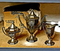 """Antique """"Heraldic""""Set of 3  brass canisters"""