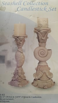 Two distressed white crackle finish candle stick holders Tucson, 85712