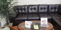 black leather 3-seat sofa HAGERSTOWN