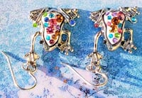 RNBW Rhinestones Silver colored Frogs pair of earrings