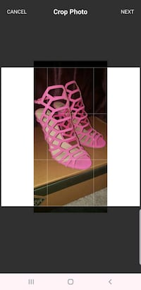 pair of pink leather open toe ankle strap heels Arlington, 22201