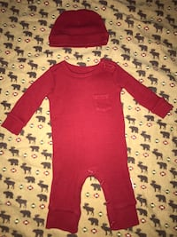 Planet Cotton Newborn Red Thermal and Beanie