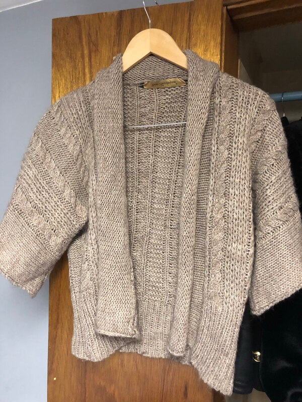 gray knitted button-up sweater