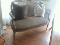 gray fabric padded armchair with brown wooden base Chester Springs, 19425