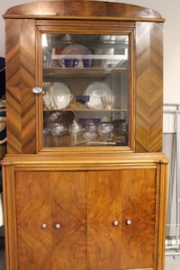 Brown wooden framed glass display cabinet San Diego, 92108