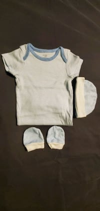 BLUE N WHITE STRIPE ONSIES WITH HAT AND MITTS  Mississauga, L4T 2V3
