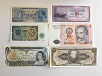 Lot of 6 - 1950s - 1980s World Banknotes - 4 Continents Calgary, T2R 0S8