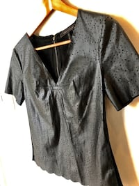 BCBG faux leather Lasercut Top. XS Vaughan