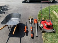 Gas lawnmower and Blower/vacuum. Black and decker battery powered weed walker and blower. Wheelbarrow and various other yard maintenance tools (rakes, shovels, gas cans, snow shovels, sprinklers and hand tools/trimmers) Lancaster, 17601