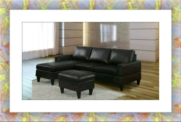 Black sectional free ottoman and delivery