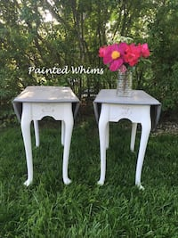 White drop leaf end tables with weathered wood top Catonsville, 21228