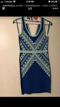 Blue Sleeveless Dress w/ beads