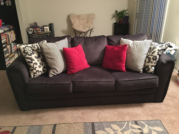 Used Simmons Flannel Charcoal Sofa For