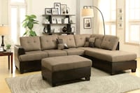 Brand New Tan Linen Sectional Sofa Couch + Ottoman Silver Spring
