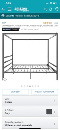 Gray metal canopy bed frame FULL