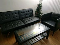 black leather tufted sofa set Delhi, 110018