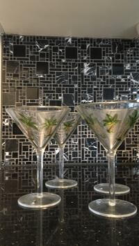 Set of 4 Martini Glasses with palm trees Innisfil, L9S 2A5