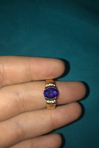 Gold and purple stone ring