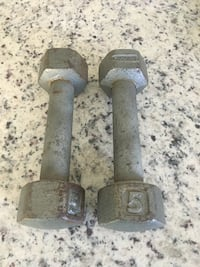 Two 5 pound weights dumbbells for Strength & Weight Training Exercise & Fitness Ocean