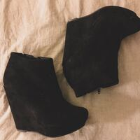 BLACK SUEDE HIGH HEEL ANKLE BOOTIES | SIZE 8 Toronto, M8Y 4G9