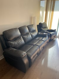 Set- Black Leather Sofa / Recliner Chair