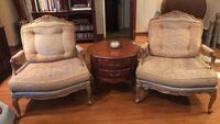 two brown wooden framed brown padded armchairs Glendale, 91205