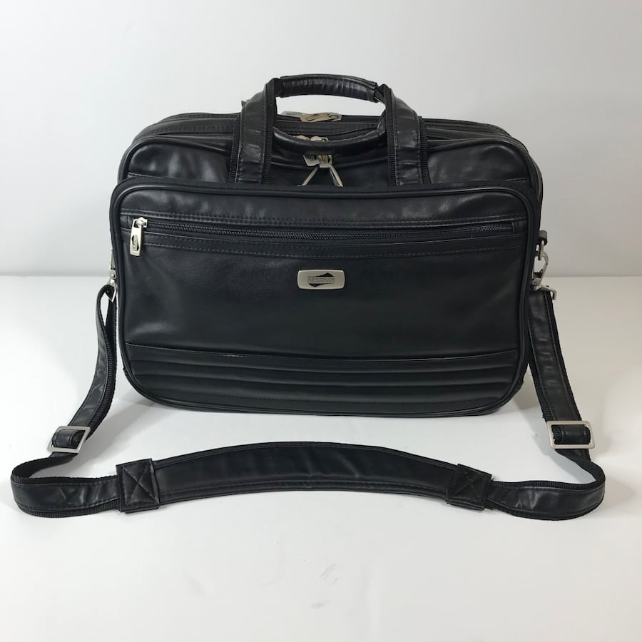 American Tourister Leather Laptop Briefcase Black Business Carry On