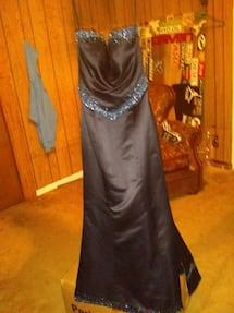 Black and teal strapless dress