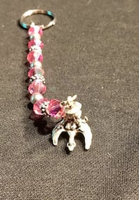 Pink and silver bead keychain Westminster
