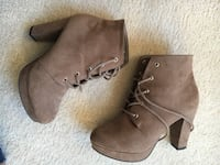 Pair of brown suede chunky-heeled booties women's size 5.5
