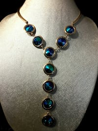 Irredescent Blue & Gold Drop Necklace