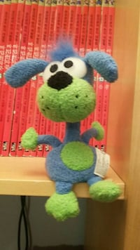 blue and green dog plush toy