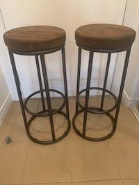 Rustic Reclaimed Wood Iron Stools (pair) Mississauga, L5A 4N8