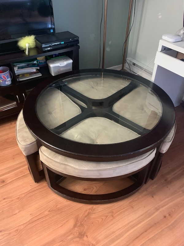 Coffee table with stools underneath 8c71a795-03e5-485c-981c-8a1e5c646c01
