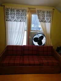 Wood couch removable cushions and covers plaid