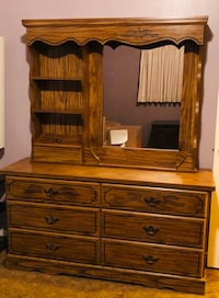 6 Drawer Bedroom Dresser/Bookcase with Mirror  Hayward