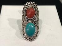 Lady's Turquoise & Coral Silver Southwest Ring 925 Silver 12.5g Size:7.5 73107