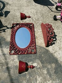 oval mirror with brown frame