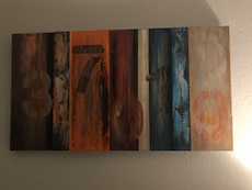 gray, oragen, red, blue and white Abstract painting wall decor