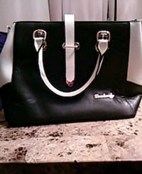 black and white leather tote bag Hamilton
