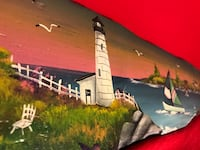 Painting on Long Driftwood- Oceanside scene Concord, 03301