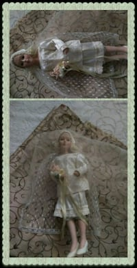girl with white floral lace wedding dress doll collage Clovis, 93612