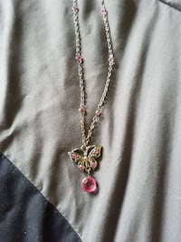 women's silver, pink and yellow butterfly pendant necklace Quebec, H9H 3Y7