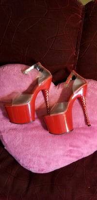 "Red 8"" Stripper Heels Size 9"