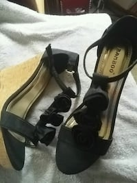 black open toe ankle strap heels with black roses