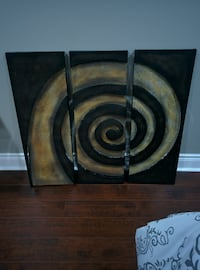 """Large Swirl Metal Wall Art 3 pieces Brown Gold Design 36 x 33.5 """" Barrie"""